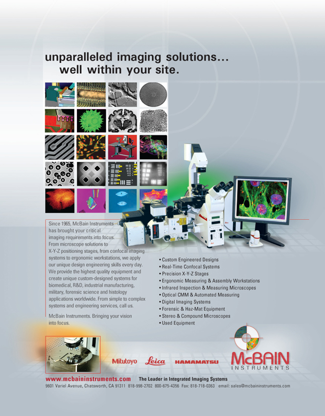 McBain Instruments for Microscopy and Confocal Imaging Systems Ad