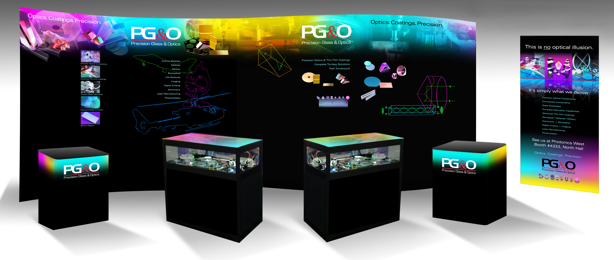 PG&O Trade Show Booth Displays Thin Film Coatings, Optical Fabrication, Glass Substrate Inventory