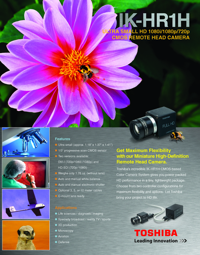 Toshiba Imaging IK-HR1H Ultra Small Remote Head Progressive Scan CMOS Video Camera Data Sheet