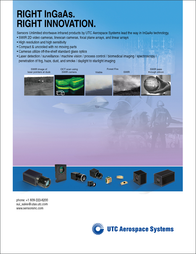Sensors Unlimited/UTC InGaAs Cameras for Shortwave Infrared Imaging Ad
